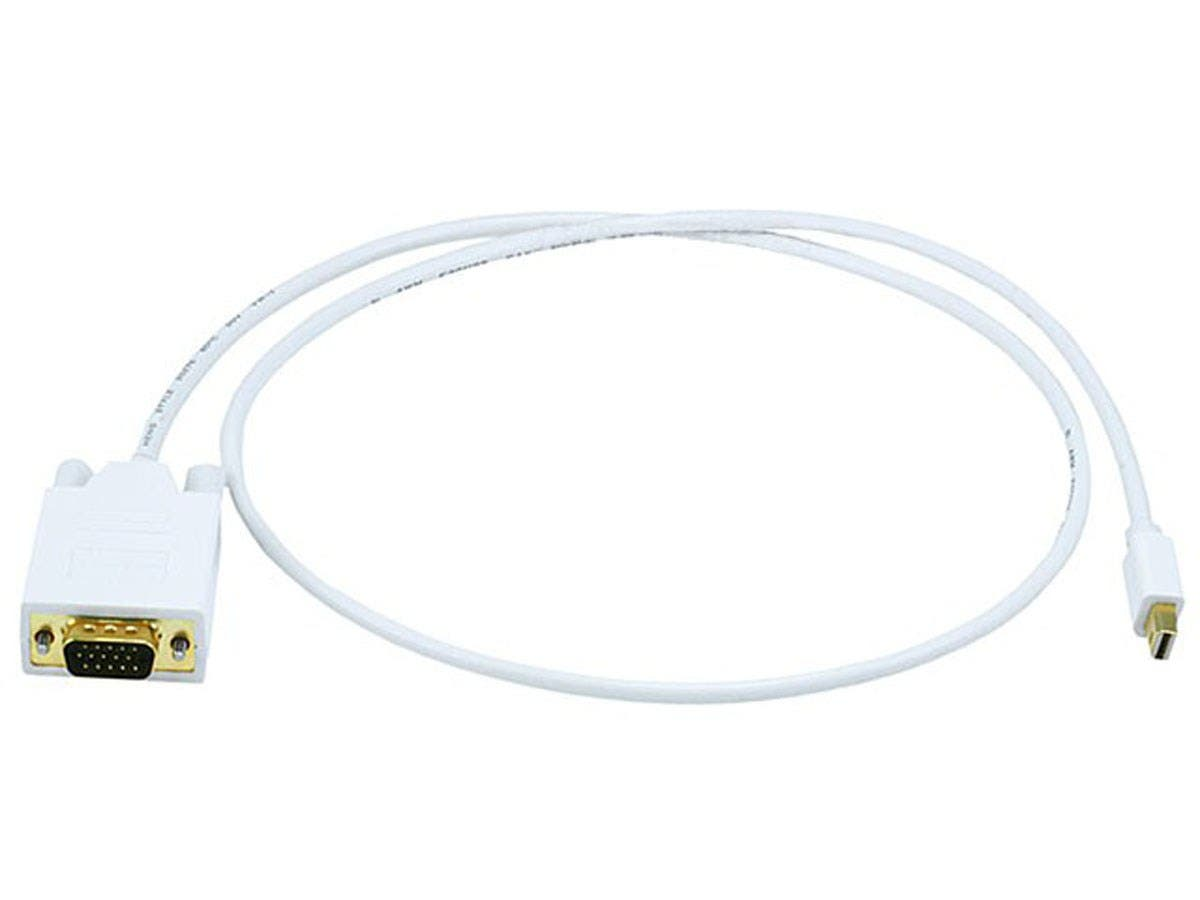 3ft 32AWG Mini DisplayPort to VGA Cable - White-Large-Image-1