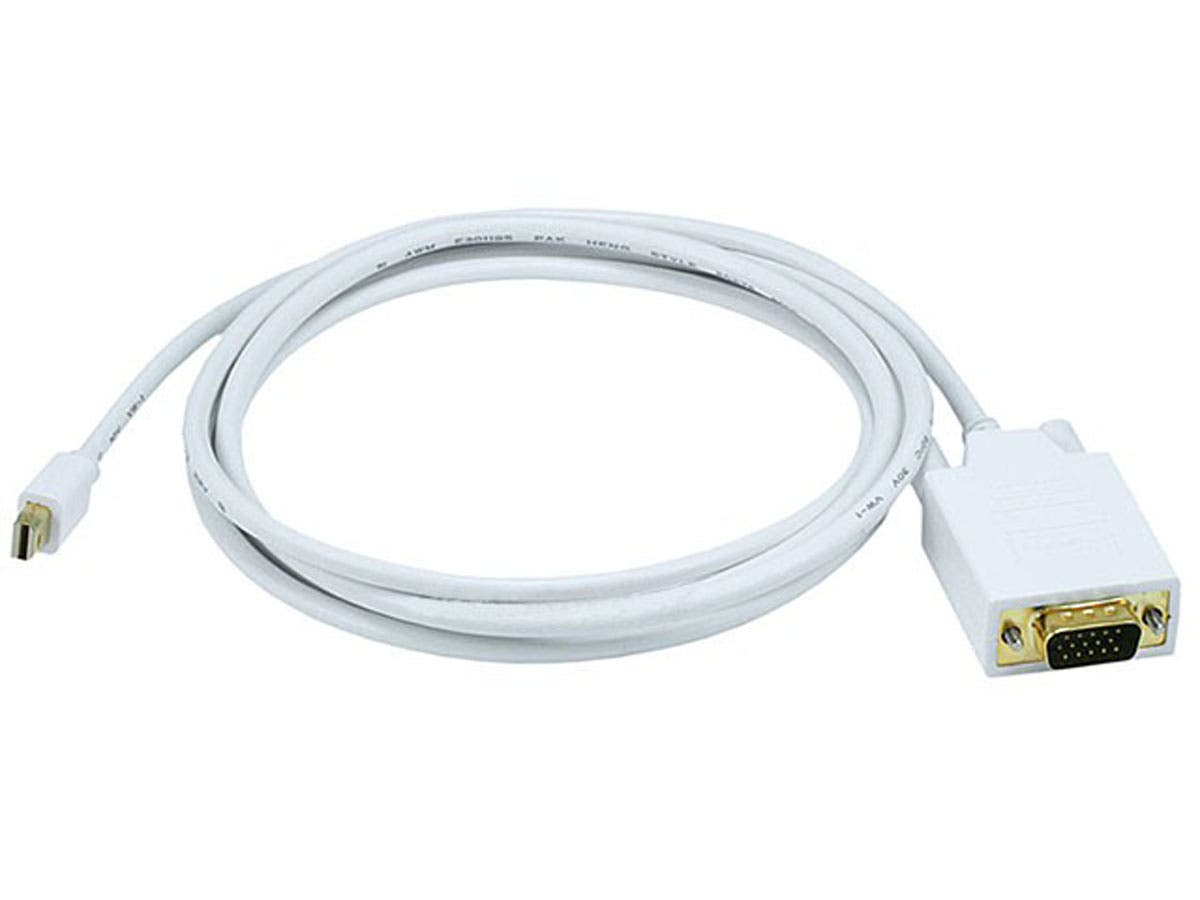 Monoprice 6ft 32awg Mini Displayport To Vga Cable White Kabel Usb Micro Howell High Quality 1 5 Meter Large Image