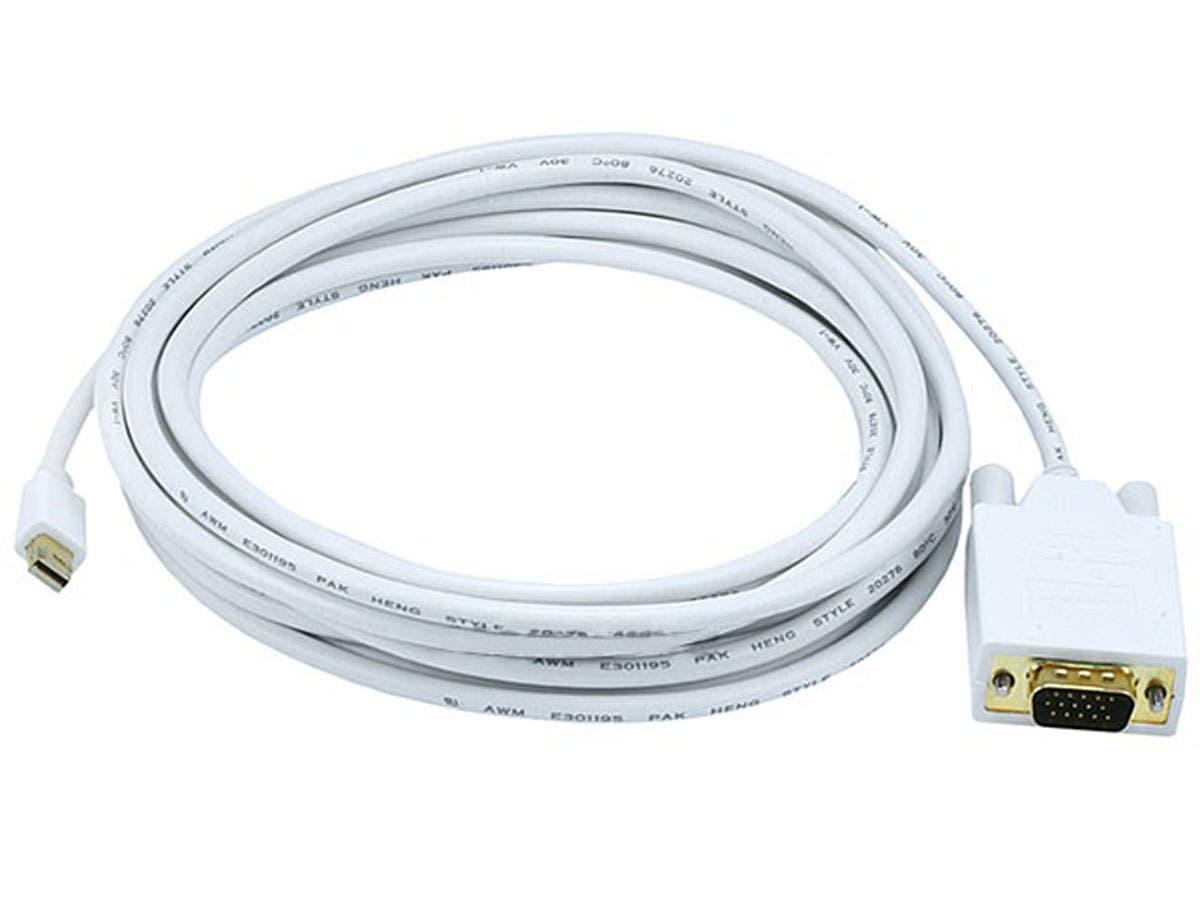 15ft 32AWG Mini DisplayPort to VGA Cable - White