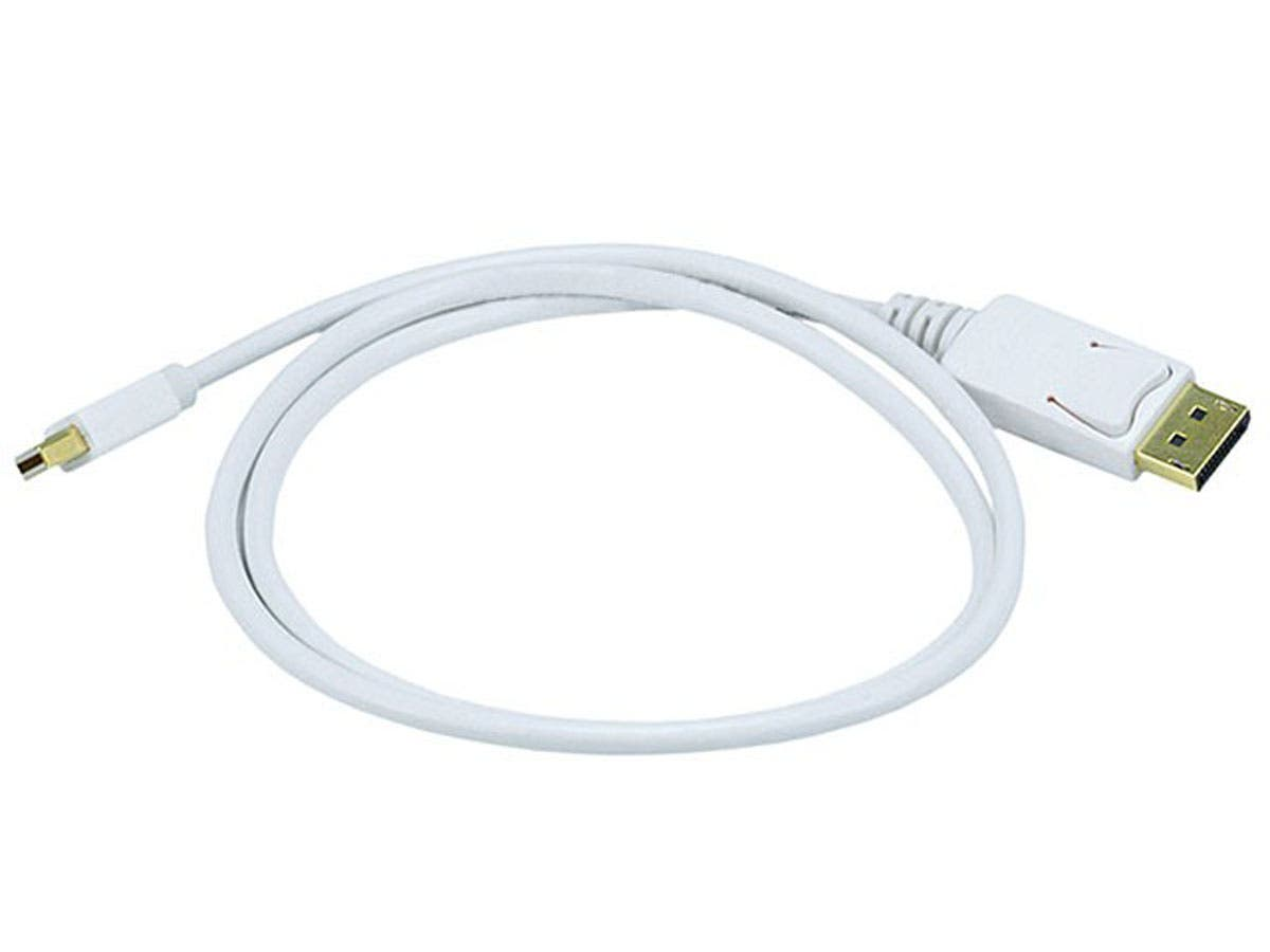Monoprice 3ft 32AWG Mini DisplayPort to DisplayPort Cable, White-Large-Image-1