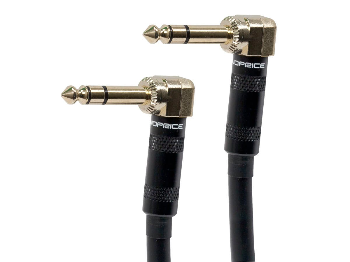 Monoprice Premier Series 1/4-inch TRS Guitar Pedal Patch Cable with Right Angle Connectors, 8-inch-Large-Image-1