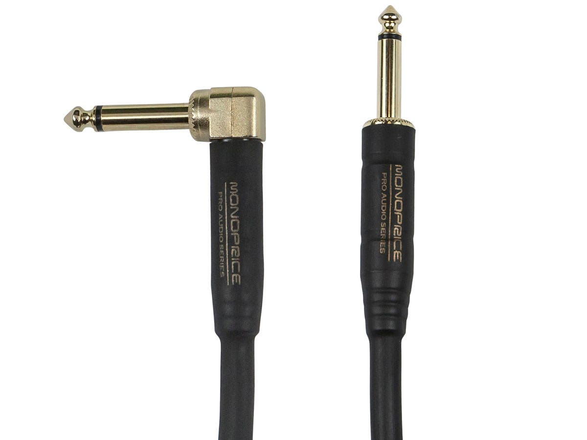 Cloth Series 1/4-inch TS Guitar/Instrument Cable with One Right Angle Connector, 10ft Blue