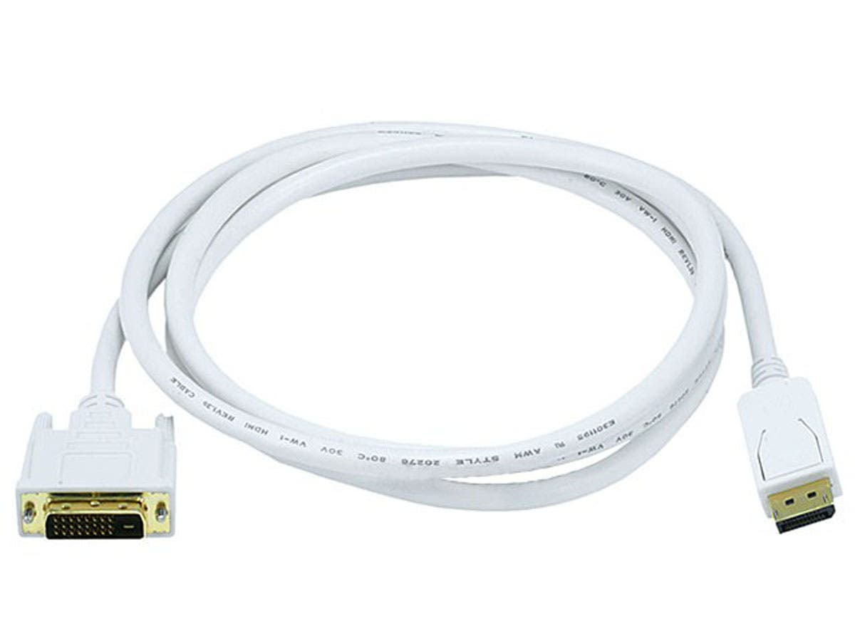 Monoprice 6ft 28AWG DisplayPort to DVI Cable, White - main image