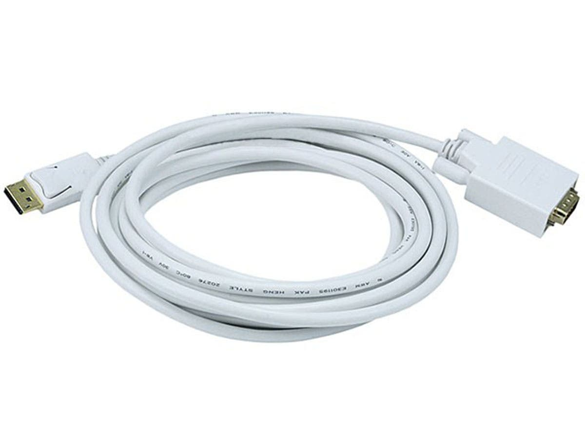 15ft 28AWG DisplayPort to VGA Cable - White