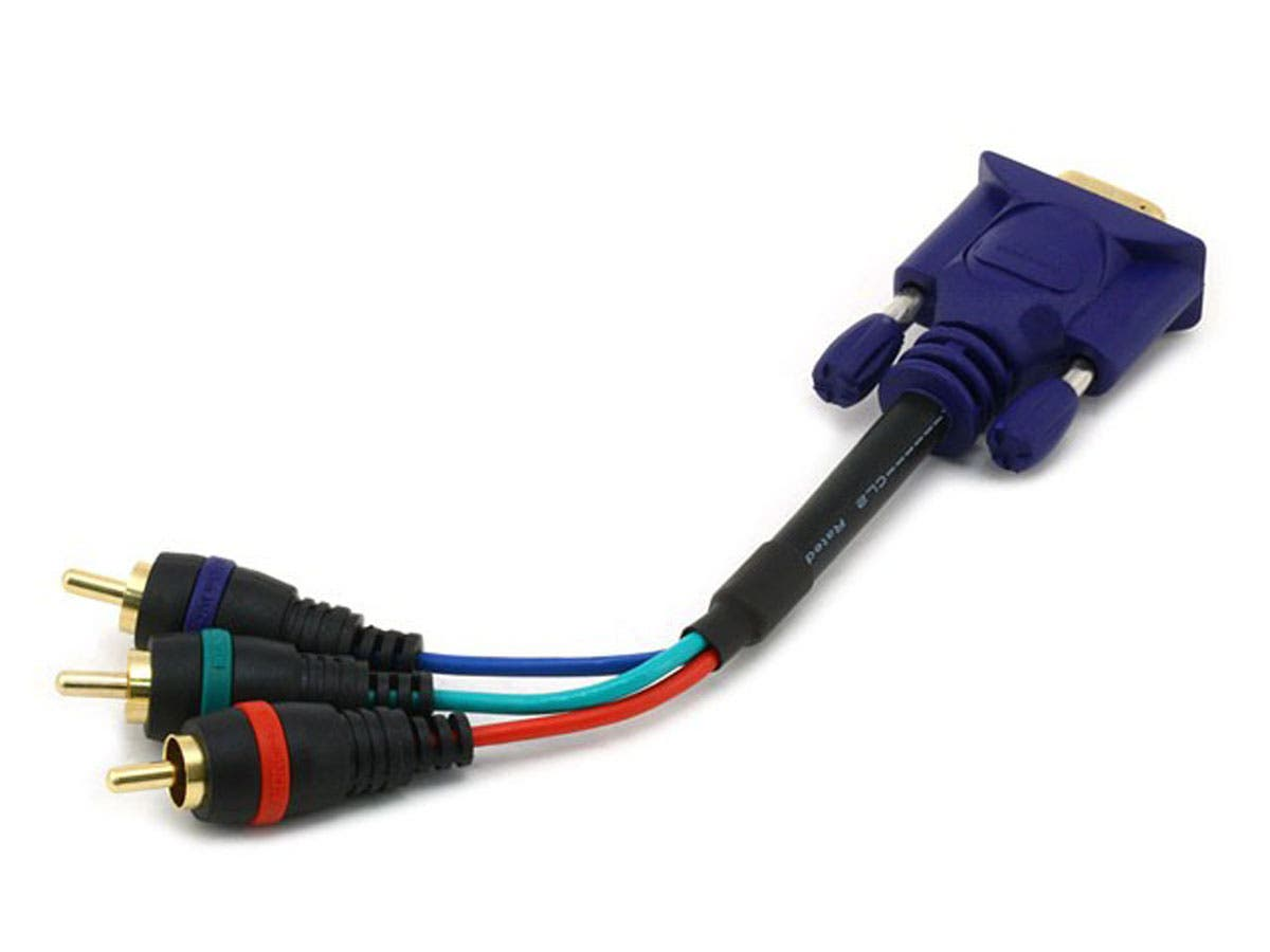 Monoprice 6in VGA to 3x RCA Component Video Cable (HD15 to 3x RCA)-Large-Image-1