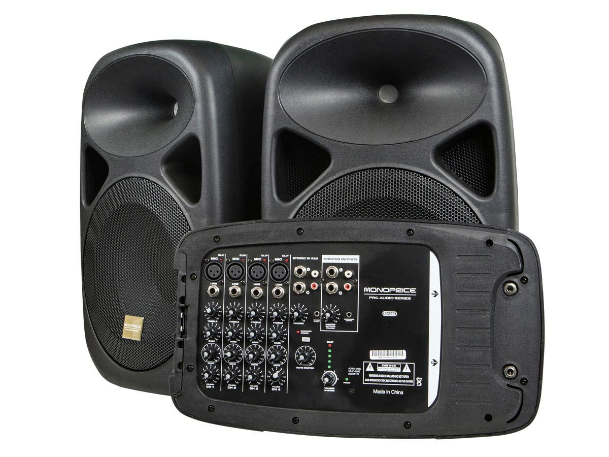 Stage Right by Monoprice 130-Watt 8-channel PA System with Two 10-inch Speakers-Large-Image-1