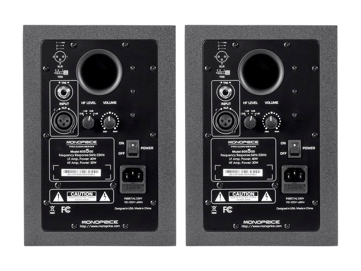 stage right by monoprice 5 inch powered studio multimedia monitor speakers pair. Black Bedroom Furniture Sets. Home Design Ideas