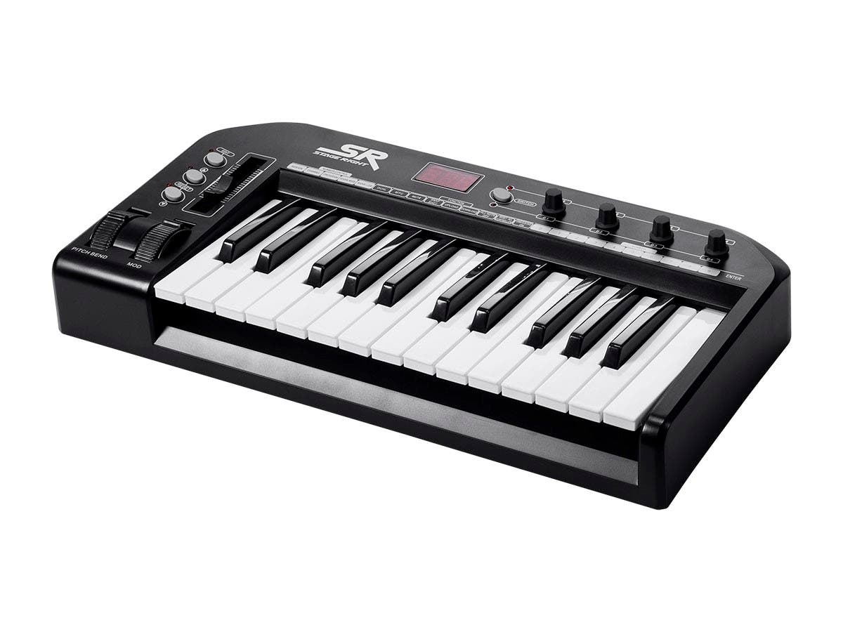 Stage Right by Monoprice 25-Key MIDI Keyboard Controller, Black-Large-Image-1