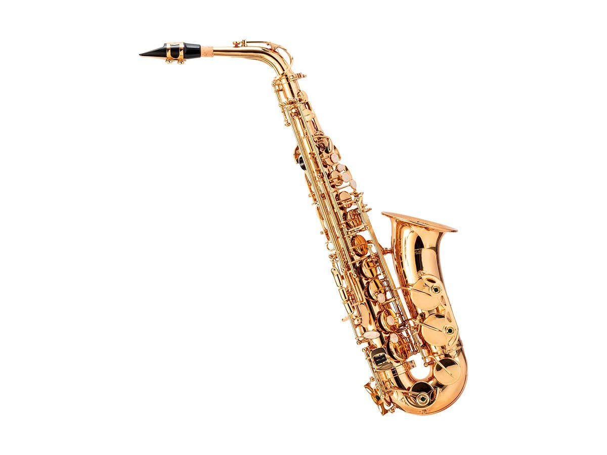 Stage Right Sonata by Monoprice Brass Eb Alto Saxophone Outfit with #2 Reeds 3-pack, Music Stand, Cleaning Brush, Mouthpiece, and Case-Large-Image-1