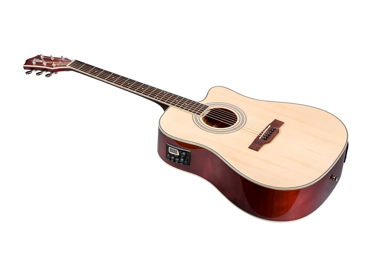 Monoprice Idyllwild Foothill Acoustic Electric Guitar with Tuner, Pickup, and Gig Bag, Natural-Large-Image-1