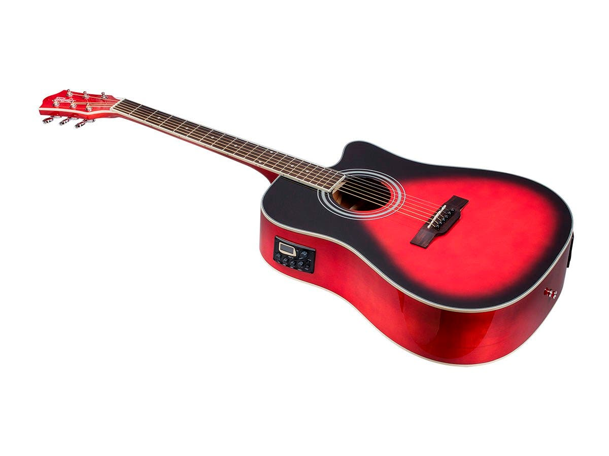 Monoprice Idyllwild Foothill Acoustic Electric Guitar with Tuner, Pickup, and Gig Bag, Red Burst-Large-Image-1