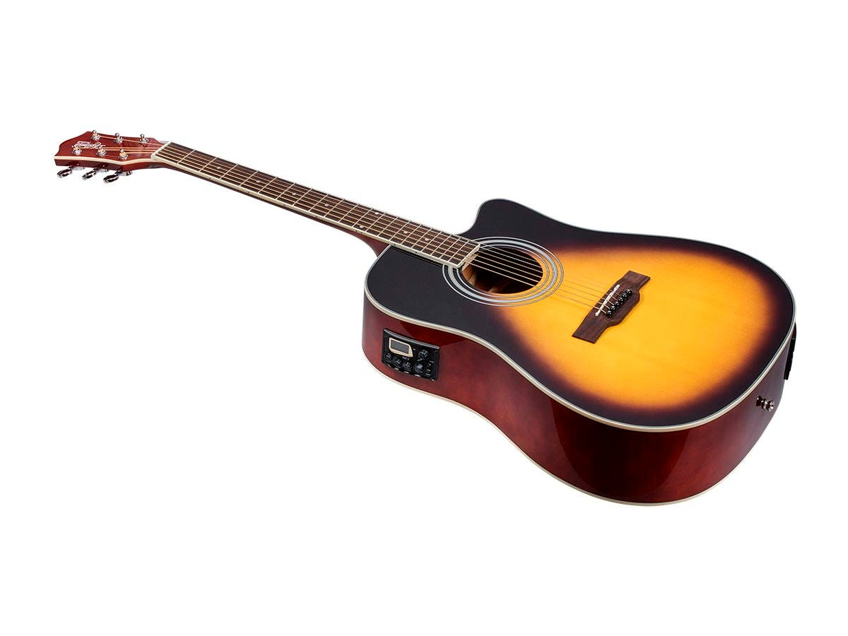 Monoprice Idyllwild Foothill Acoustic Electric Guitar with Tuner, Pickup, and Gig Bag, Vintage Sunburst-Large-Image-1