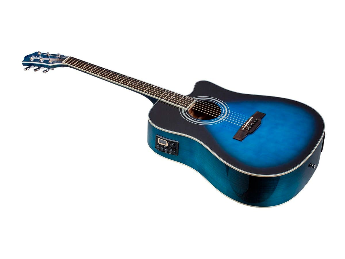 Monoprice Idyllwild Foothill Acoustic Electric Guitar with Tuner, Pickup, and Gig Bag, Blue Burst-Large-Image-1