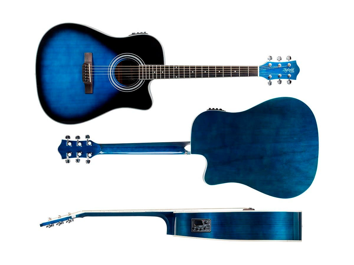 idyllwild by monoprice foothill acoustic electric guitar with tuner pickup and gig bag blue. Black Bedroom Furniture Sets. Home Design Ideas