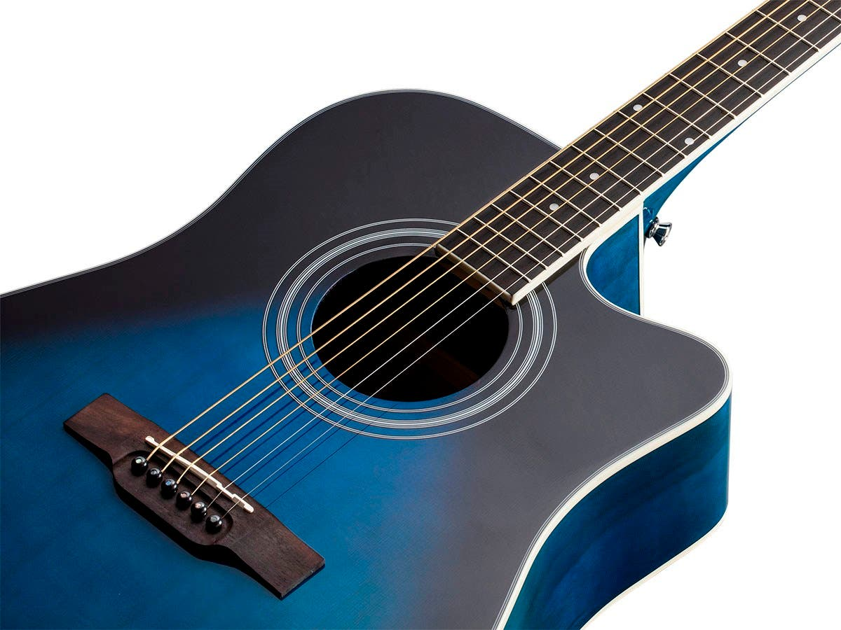 monoprice idyllwild foothill acoustic electric guitar with tuner pickup and gig bag blue. Black Bedroom Furniture Sets. Home Design Ideas