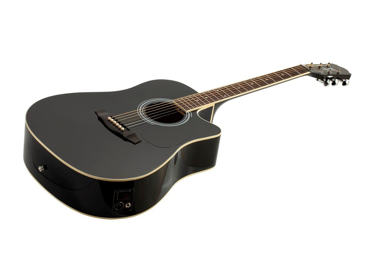 Monoprice Idyllwild Foothill Acoustic Electric Guitar with Tuner Pickup and Gig Bag Black-Large-Image-1
