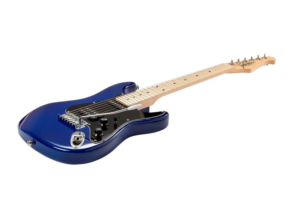 Monoprice Indio Mini Cali Electric Guitar with Gig Bag Blue-Large-Image-1