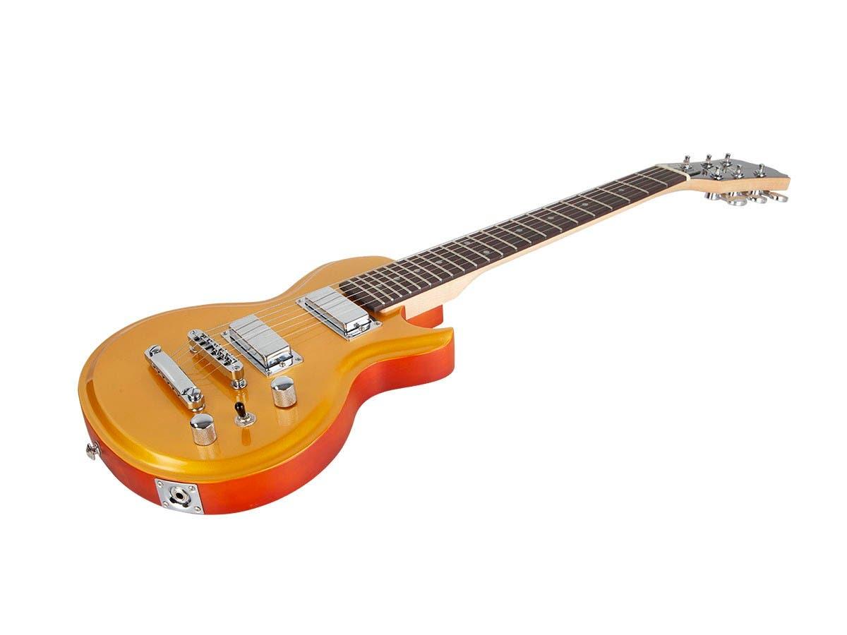 Monoprice Indio Mini 66 Electric Guitar with Gig Bag Goldtop-Large-Image-1