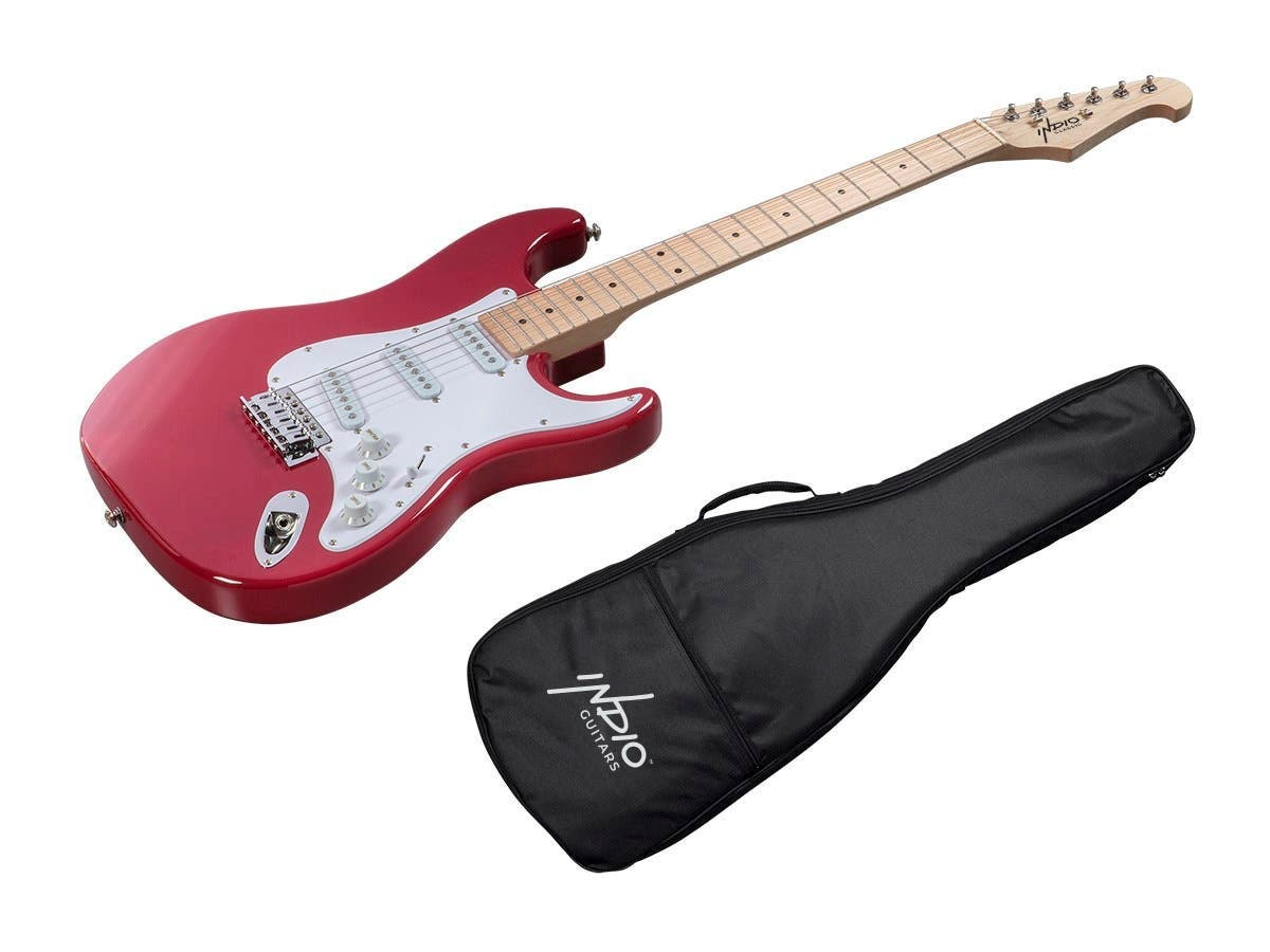 Monoprice Indio Cali Classic Electric Guitar with Gig Bag, Wine Red-Large-Image-1