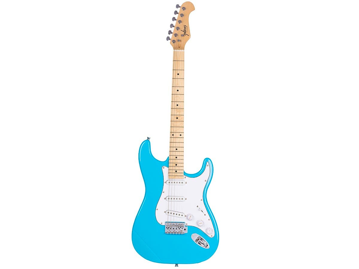 Monoprice Indio Cali Classic Electric Guitar with Gig Bag, Blue Burst-Large-Image-1