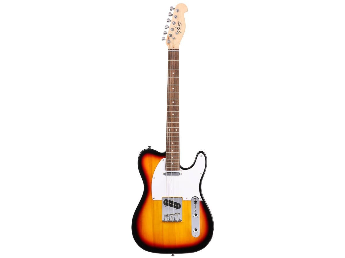 Monoprice Indio Retro Classic Electric Guitar with Gig Bag, Sunburst-Large-Image-1