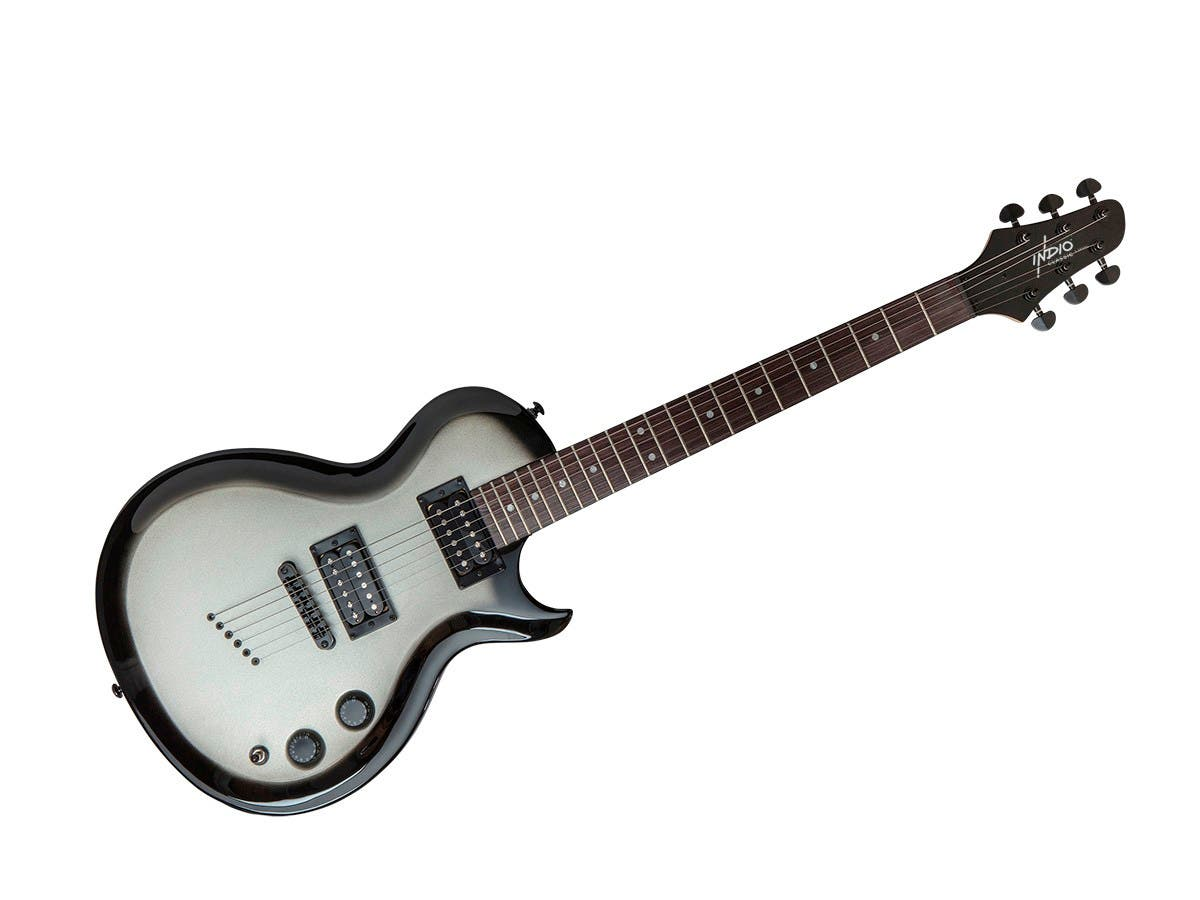 Monoprice Indio 66 Classic Electric Guitar with Gig Bag, Silver Burst-Large-Image-1