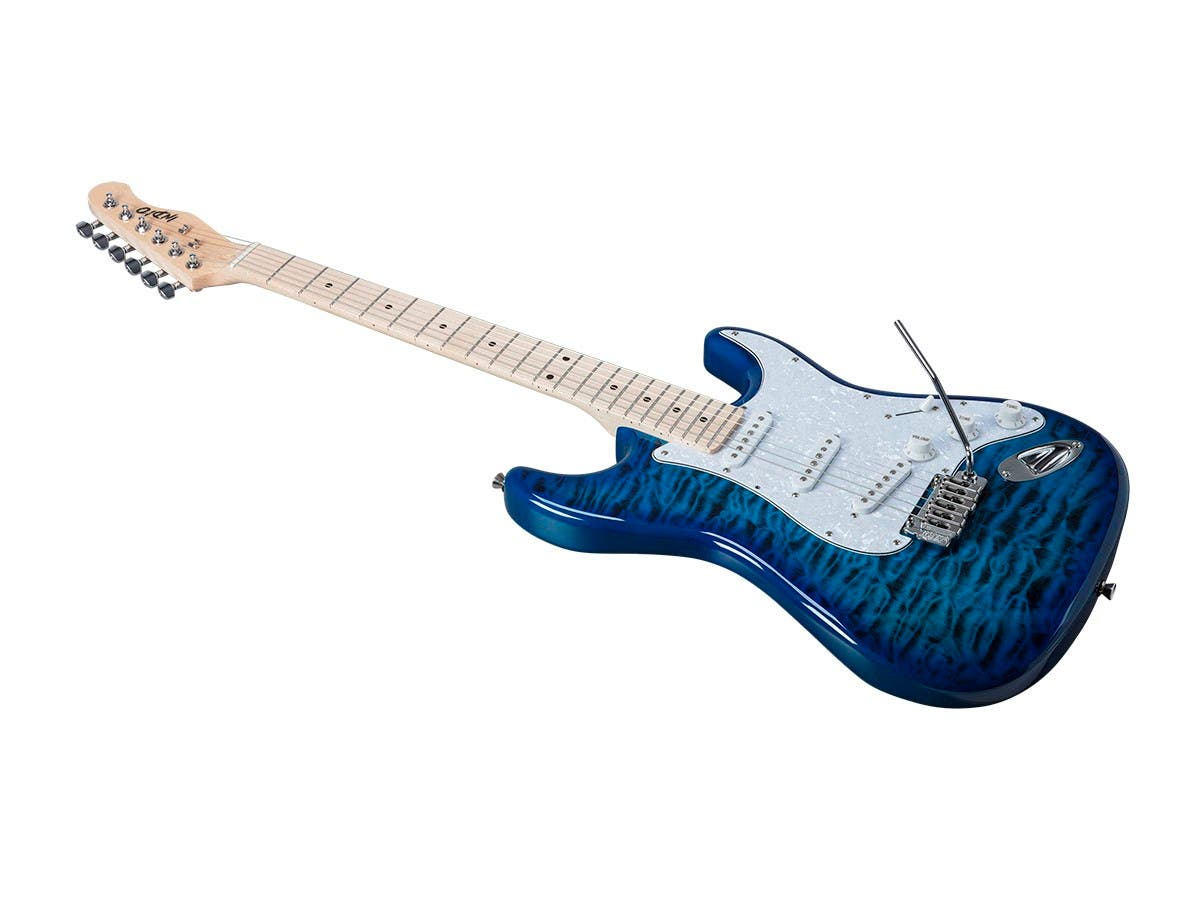 Monoprice Indio Cali DLX Quilted Maple Top Electric Guitar with Gig Bag Blue Burst-Large-Image-1
