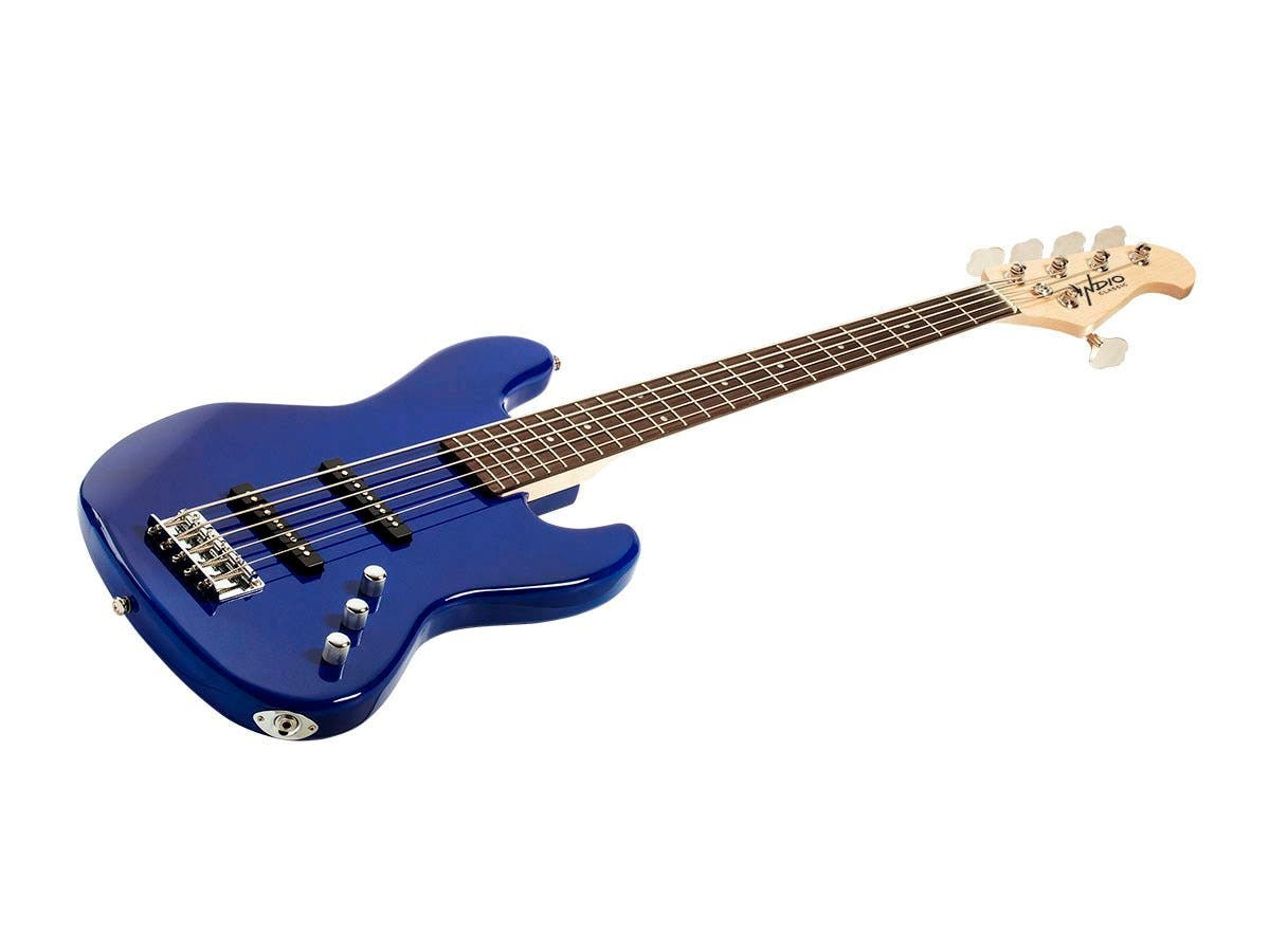 Monoprice Indio Jamm 5-string Electric Bass with Gig Bag Blue-Large-Image-1