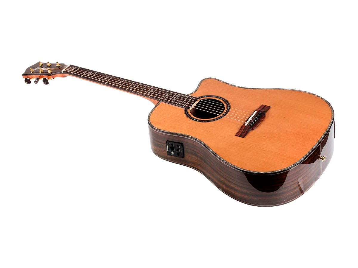 Monoprice Idyllwild Cedar Solid Top Acoustic Electric Guitar with Fishman Pickup Tuner and Gig Bag-Large-Image-1