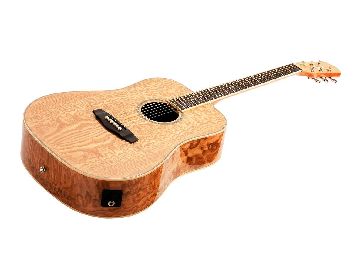 Idyllwild by Monoprice Quilted Ash Acoustic Guitar with Fishman Pickup Tuner and Gig Bag - main image