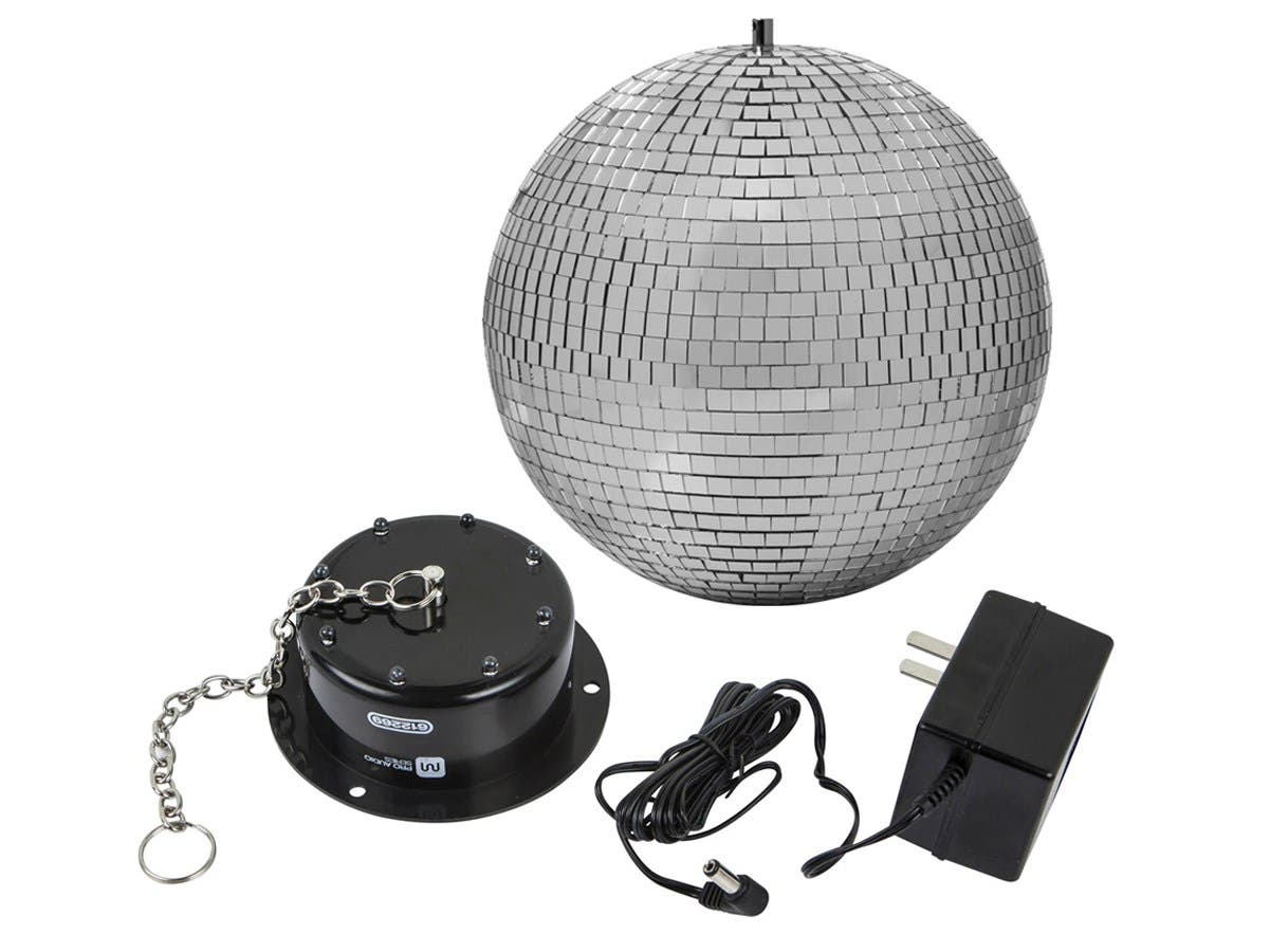 Stage Right By Monoprice 10 Inch Mirror Ball Motor With Led Lights Dancing Leds Large