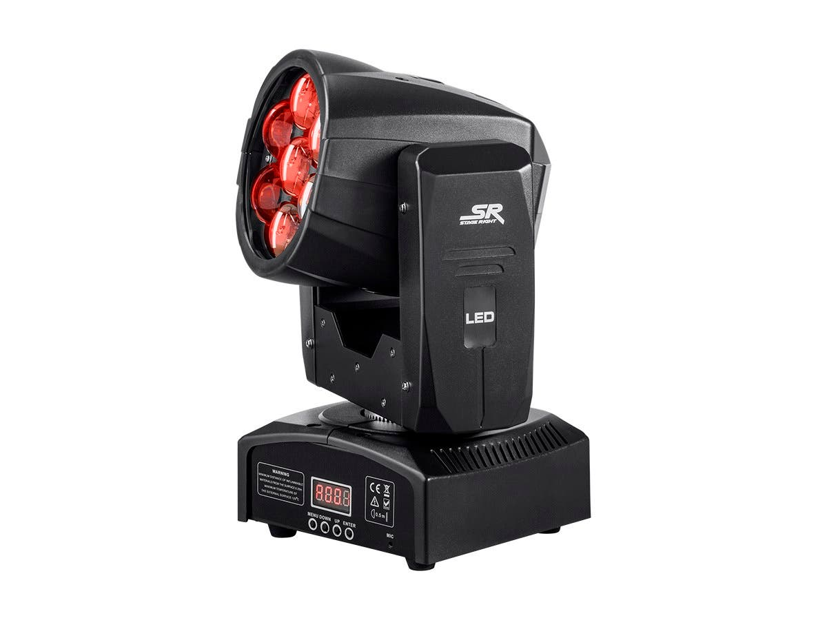 Stage Right by Monoprice Stage Wash 12 Watt x 7 LED Moving Head (RGBW) with Zoom-Large-Image-1