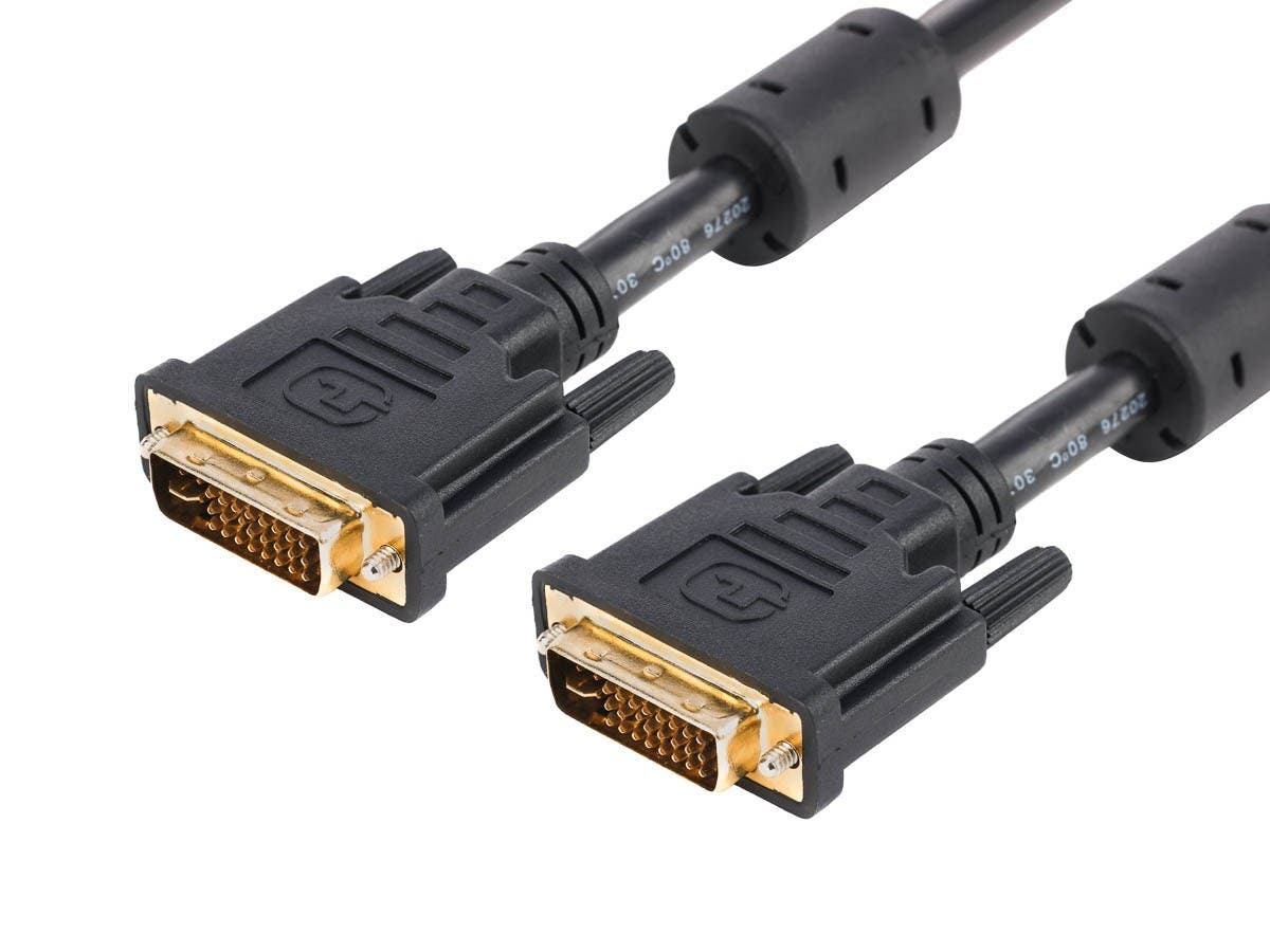 Monoprice 6ft 28AWG Dual Link DVI-I Cable - Black-Large-Image-1