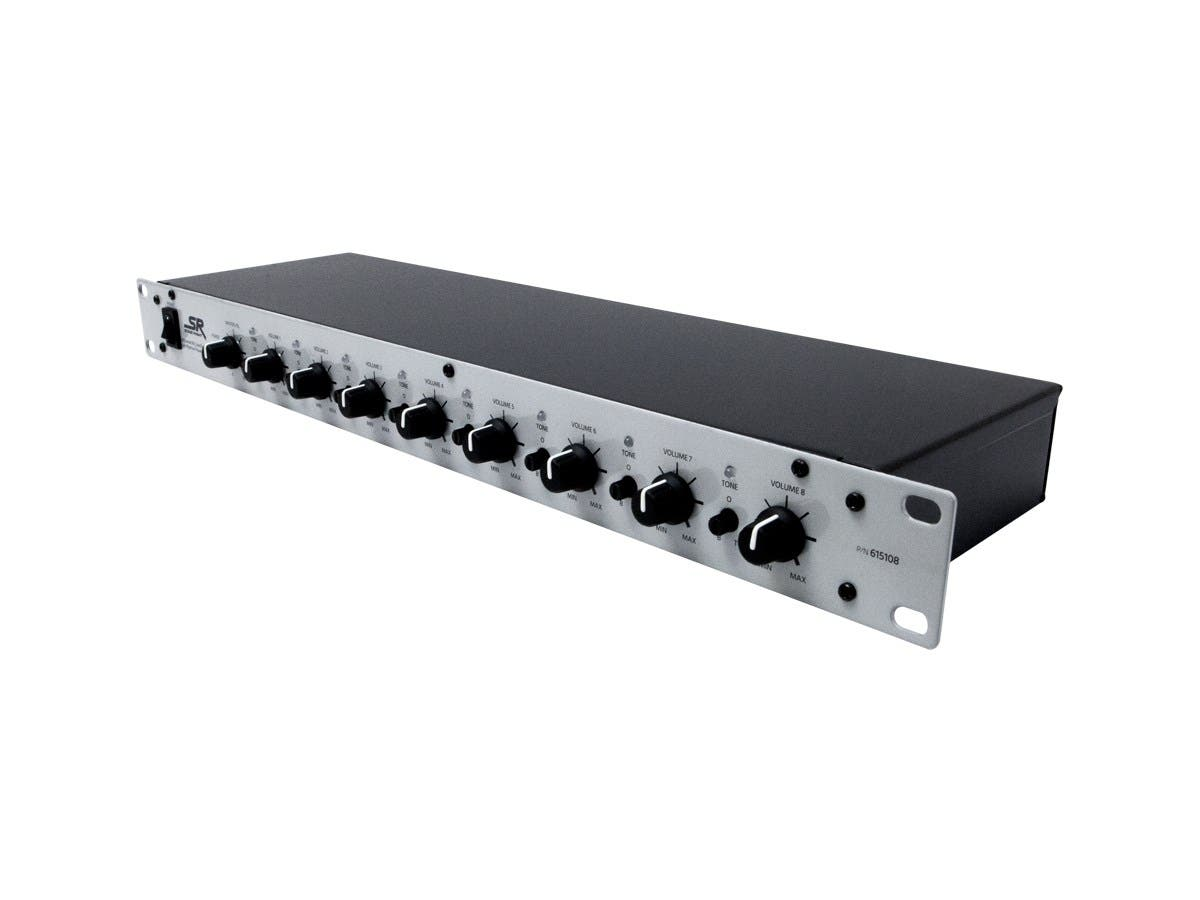 Monoprice 8-Channel 1U Mic Line Rack Mixer with Phantom Power-Large-Image-1