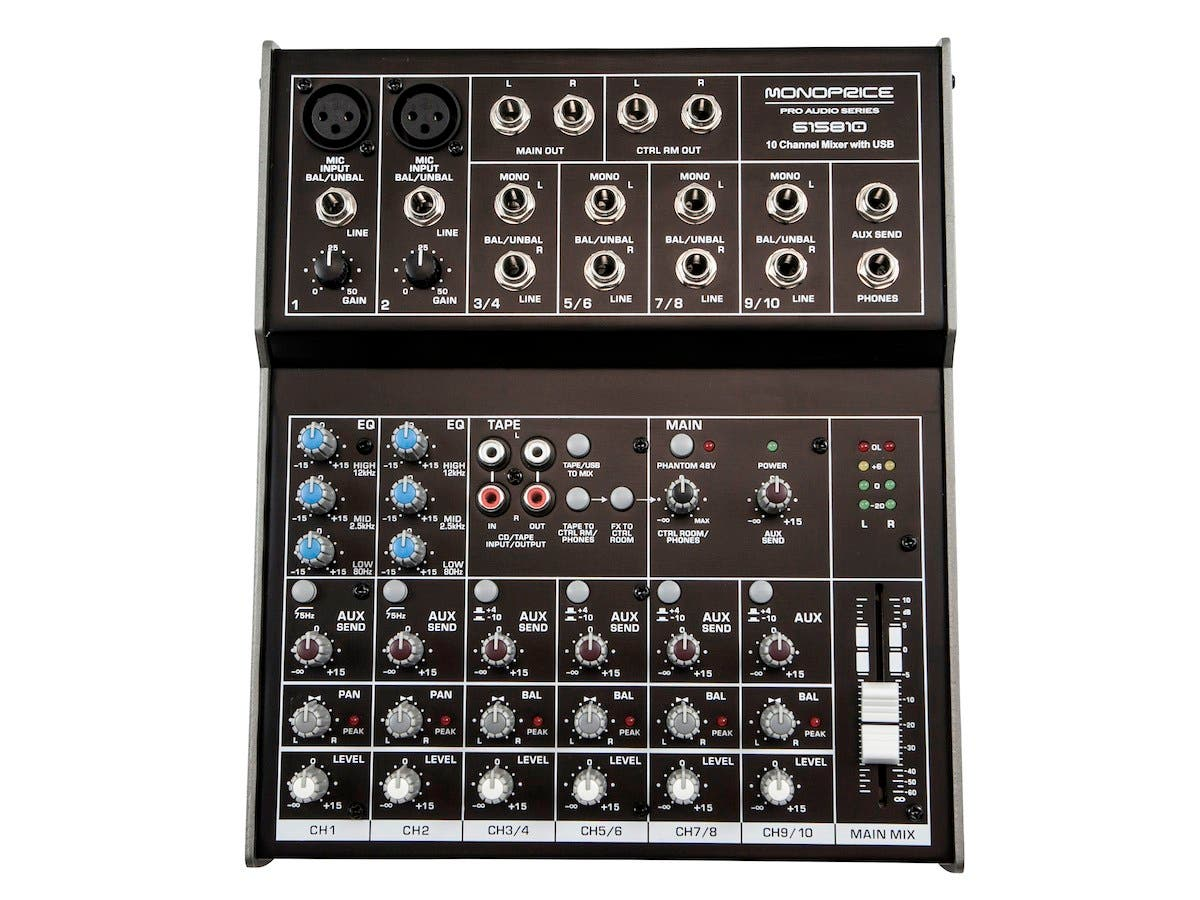 Monoprice 10-channel Mixer with USB-Large-Image-1