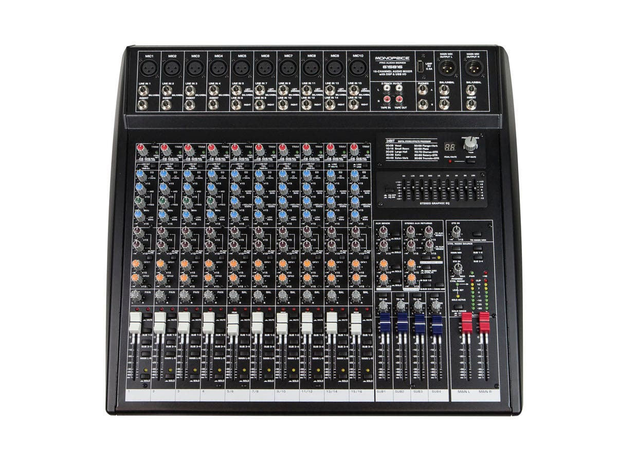 16-channel Audio Mixer with DSP & USB-Large-Image-1