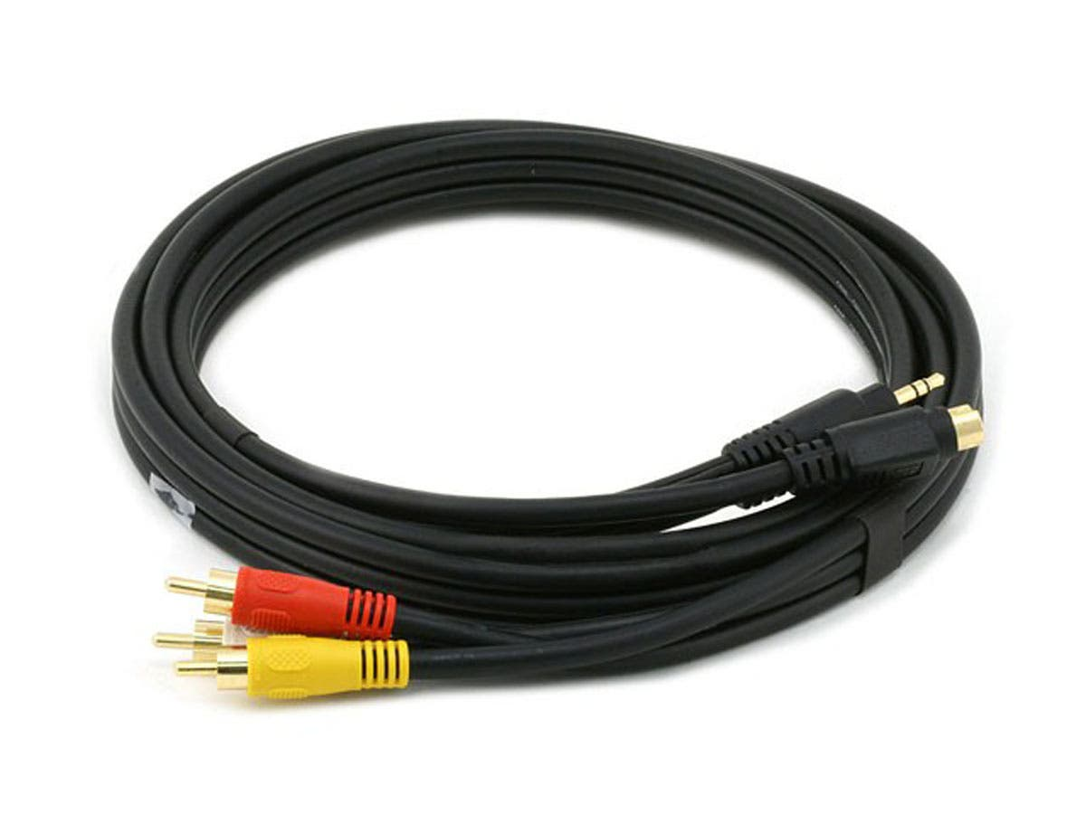 Monoprice 6ft S-Video|3.5mm Stereo to Composite RCA|RCA Stereo Combo 22AWG Cable (Gold Plated)-Large-Image-1