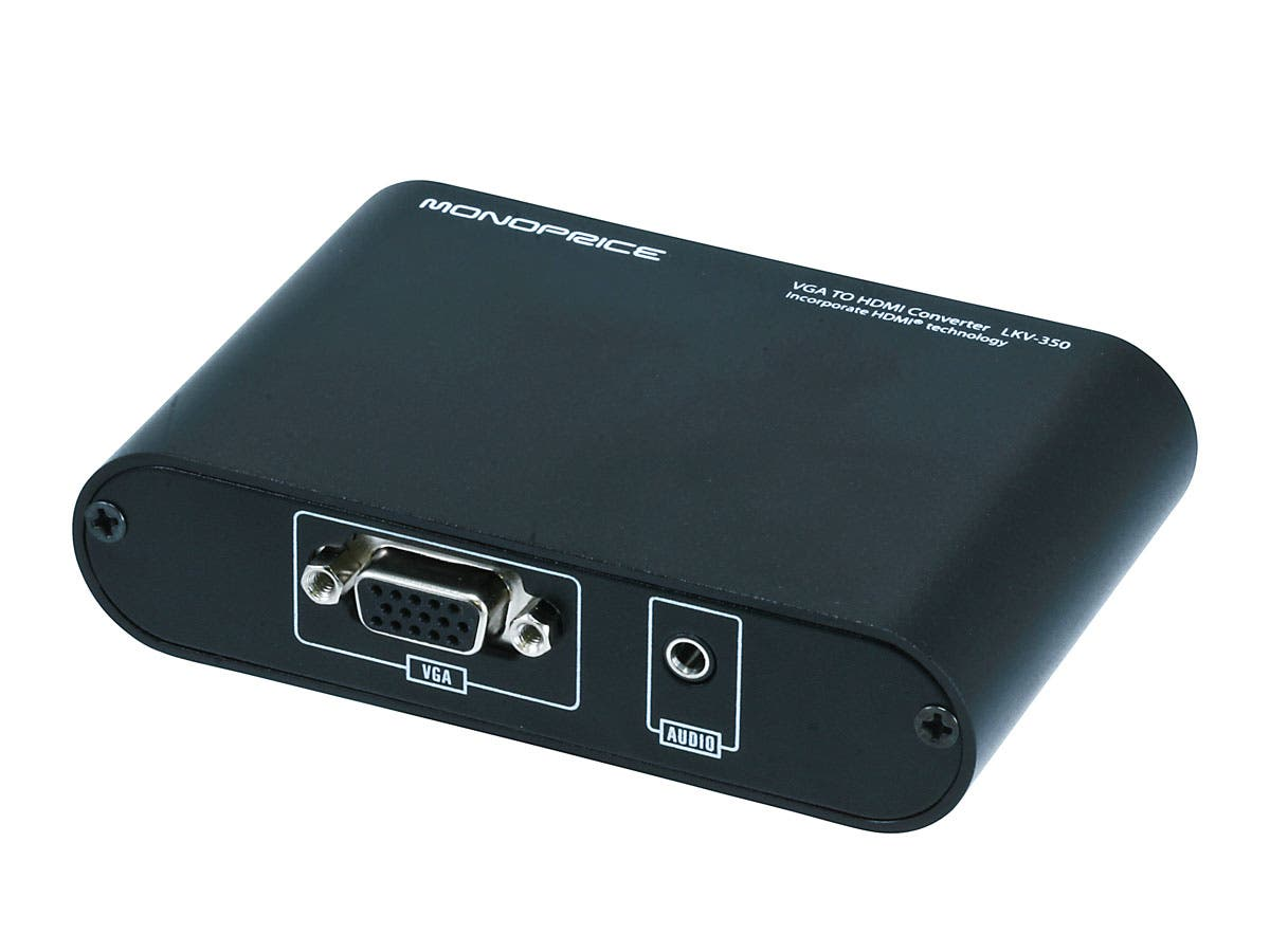 Monoprice Vga To Hdmi Converter Full Hd 1080p Male And Audio Adapter For Hdtv Monitor Large Image 1
