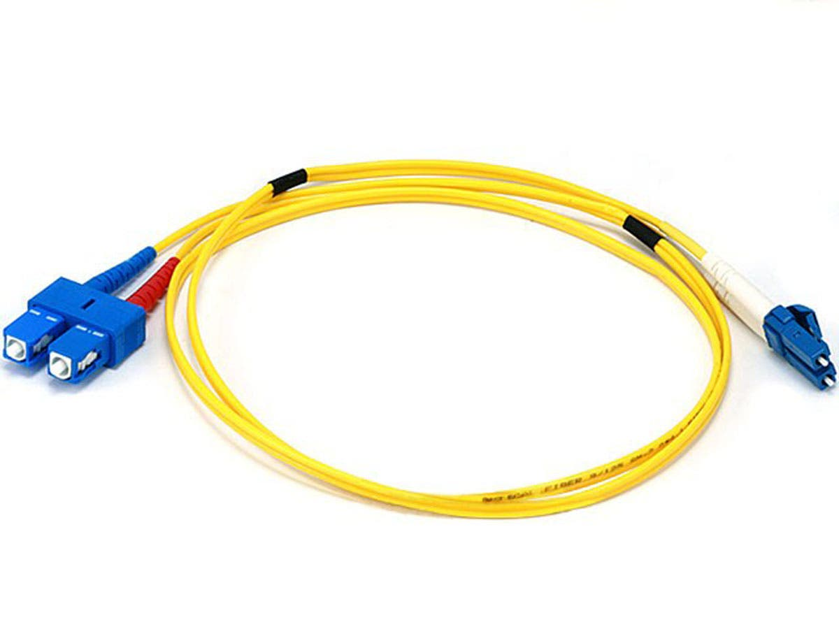 Monoprice Fiber Optic Cable - LC to SC, 9/125 Type, Single Mode, Duplex, Yellow, 1m-Large-Image-1