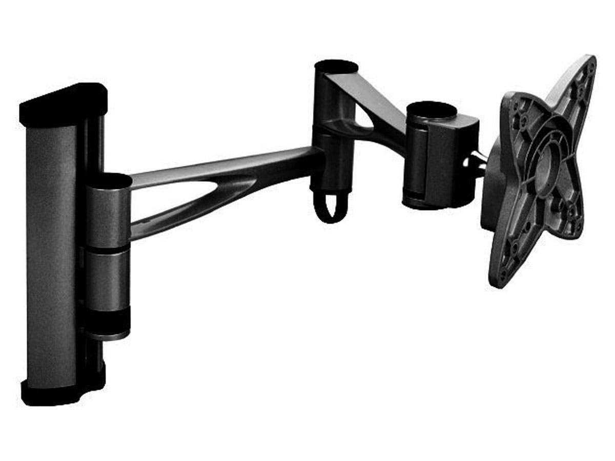 Monoprice Full-Motion Articulating TV Wall Mount Bracket TVs 13in to 27in, Max Weight 33 lbs, Extends from 5.0in to 19.2in, VESA Up to 100x100, Rotating , Security Brackets, Concrete & Brick-Large-Image-1