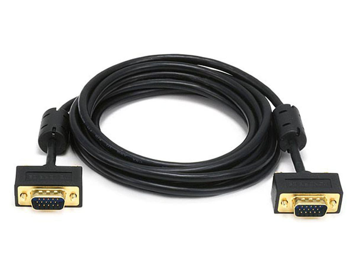 Monoprice 10ft Ultra Slim SVGA Super VGA 30/32AWG M/M Monitor Cable w/ ferrites (Gold Plated Connector)-Large-Image-1