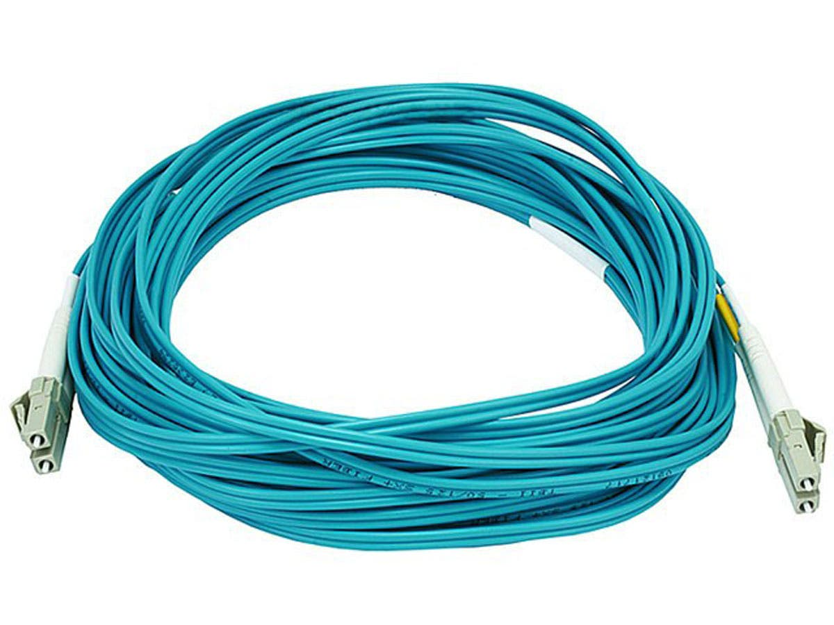 Monoprice Fiber Optic Cable - LC to LC, OM3, 50/125 Type, Multi Mode, 10Gb, Duplex, Aqua, 10m-Large-Image-1