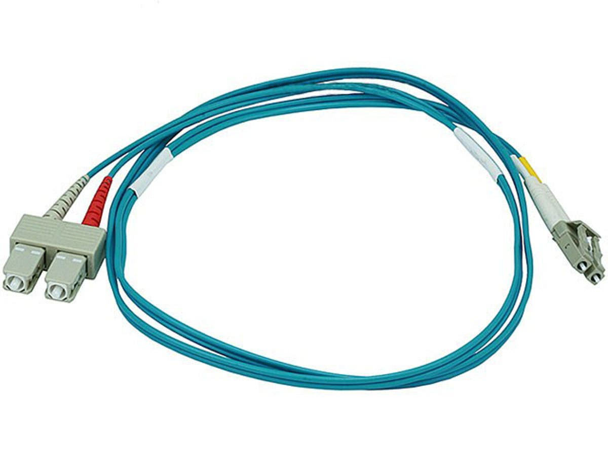 Monoprice Fiber Optic Cable - LC to SC, OM3, 50/125 Type, Multi Mode, 10Gb, Duplex, Aqua, 1m, Corning-Large-Image-1