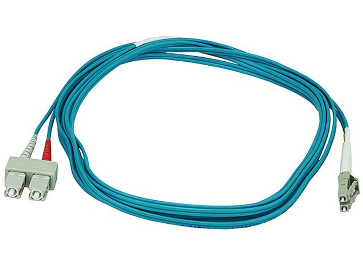 10Gb Fiber Optic Cable, LC/SC, Multi Mode, Duplex - 3 Meter (50/125 Type) - Aqua