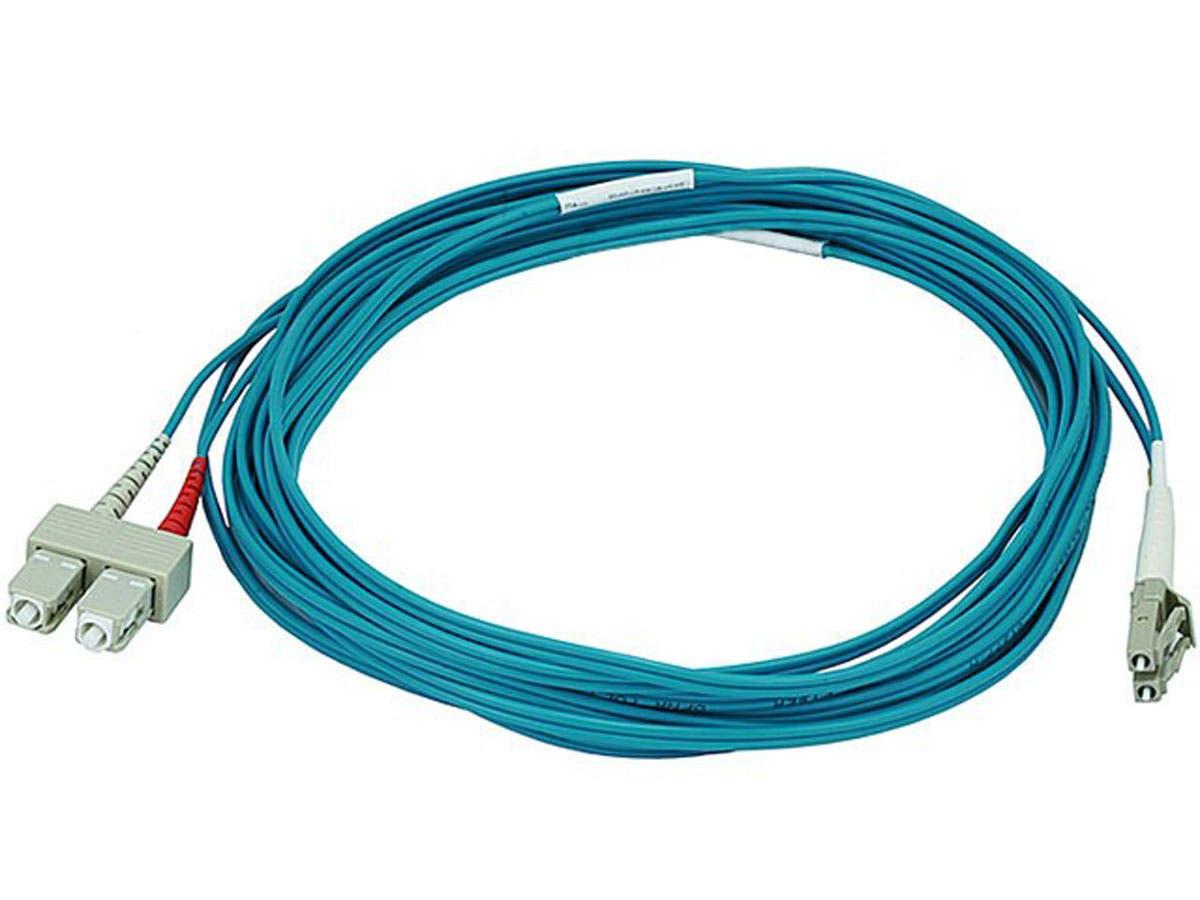 10Gb Fiber Optic Cable, LC/SC, Multi Mode, Duplex - 5 Meter (50/125 Type) - Aqua
