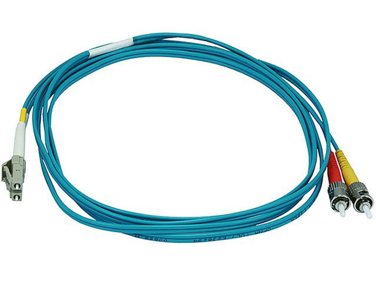 Fiber Optic Cable - LC to ST, OM3, 50/125 Type, Multi Mode, 10Gb, Duplex, Aqua, 2m-Large-Image-1