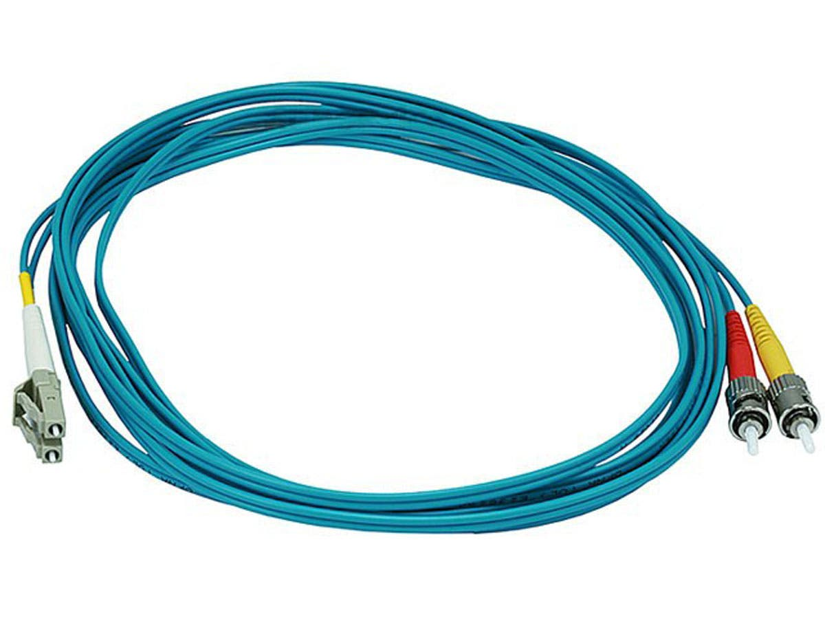 Monoprice Fiber Optic Cable - LC to ST, OM3, 50/125 Type, Multi Mode, 10Gb, Duplex, Aqua, 3m-Large-Image-1