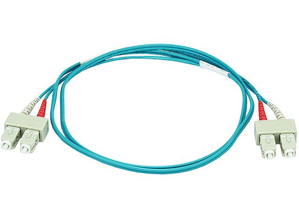 Monoprice OM3 Fiber Optic Cable - SC/SC, UL, 50/125 Type, Multi-Mode, 10GB, Aqua, 1m, Corning - main image