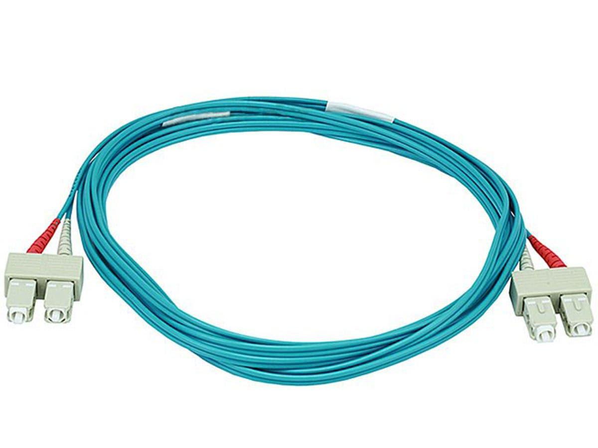 10Gb Fiber Optic Cable, SC/SC, Multi Mode, Duplex - 3 Meter (50/125 Type) - Aqua