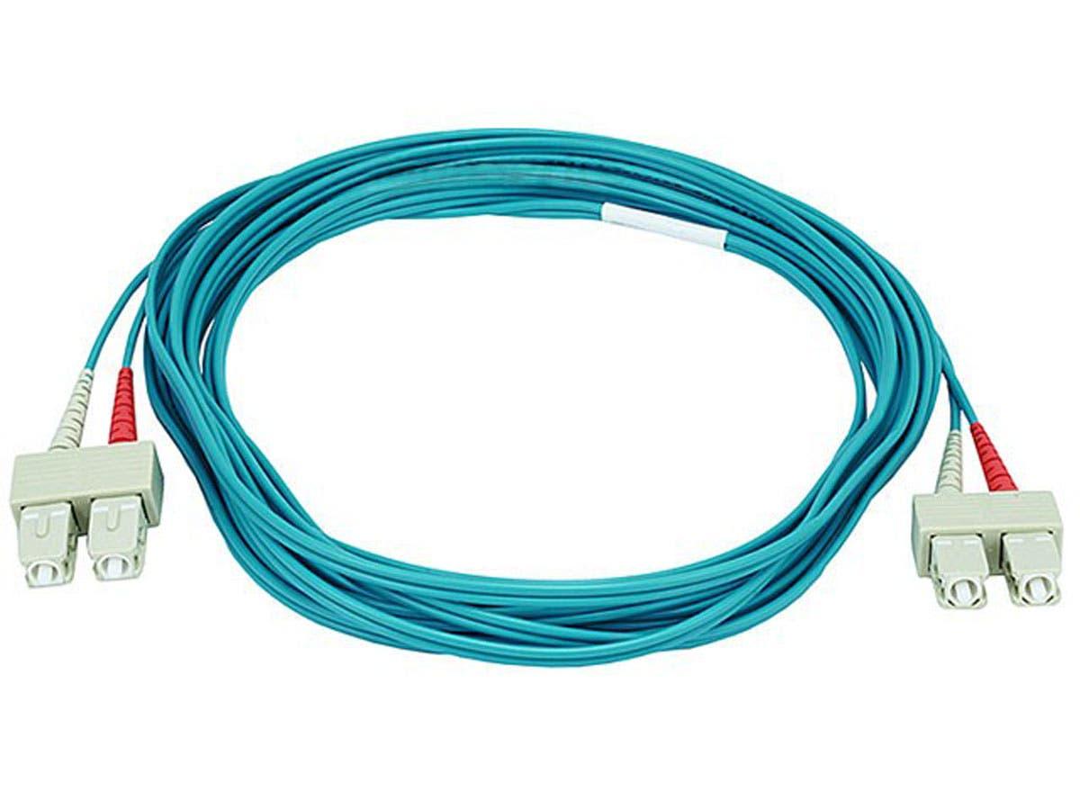 10Gb Fiber Optic Cable, SC/SC, Multi Mode, Duplex - 5 Meter (50/125 Type) - Aqua